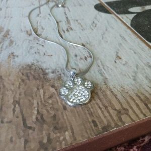 Silver dog paw print necklace
